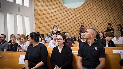 Lara Alqasem, a 22-year-old graduate student an active BDS supporter while at the University of Florida, arrives to the courtroom at the Supreme Court in Jerusalem on Oct. 17, 2018. Photo by Miriam Alster/Flash90.