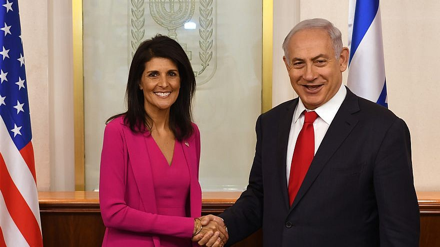 U.S. Ambassador to the United Nations Nikki Haley with Israeli Prime Minister Benjamin Netanyahu at his office in Jerusalem on June 7, 2017. Credit: U.S. Embassy/Tel Aviv via Wikimedia Commons.