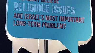 One of the signs at the Jewish Federations of North America's 2018 General Assembly in Tel Aviv discussing religious issues. Credit: Alex Traiman.