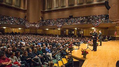 Israel Minister of Diaspora Affairs Naftali Bennett addresses the Pittsburgh Jewish community at a special memorial service on Sunday night, Oct. 28, 2018. Credit: Alexi Rosenfeld.
