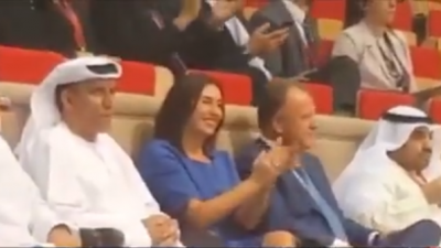 Israeli Minister of Sports and Culture Miri Regev cheers on the Israeli Judo team in Abu Dhabi. She is the first Israeli minister to officially visit the UAE. Source: screen capture.