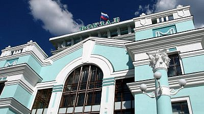 Railway station in Omsk, Russia, in southwest Siberia. Credit: Flickr via Wikimedia Commons.