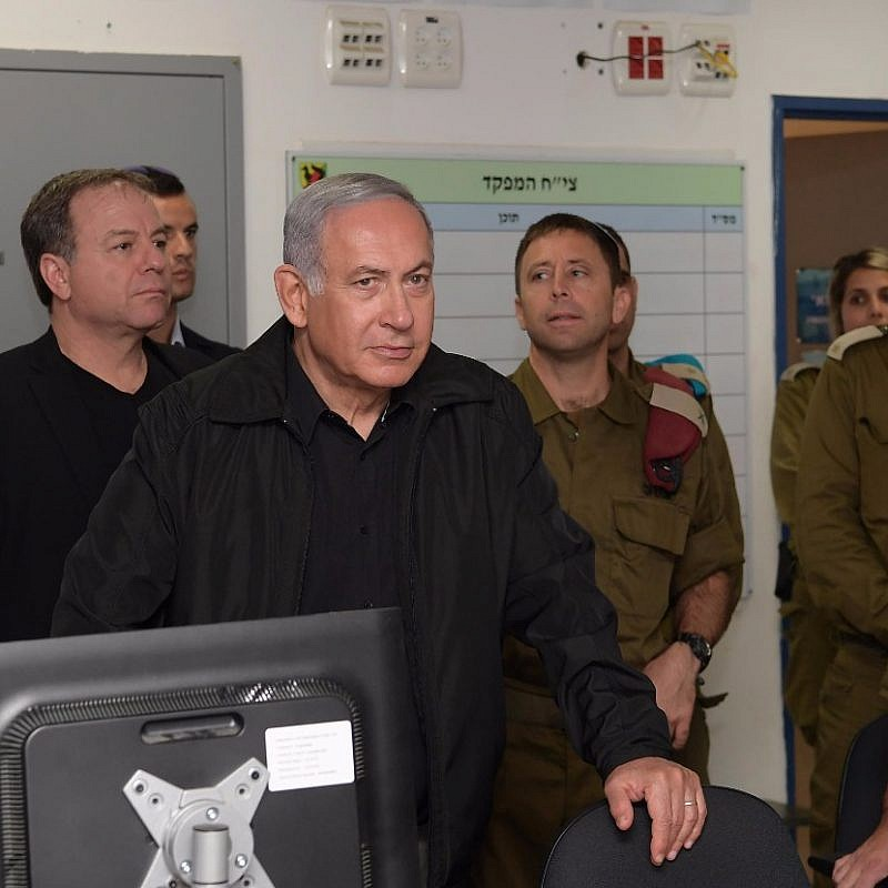Israeli Prime Minister Benjamin Netanyahu at the IDF Gaza Division on Oct. 17, 2018. Credit: Amos Ben-Gershom.