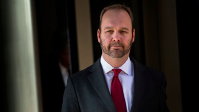 Former Trump campaign official Rick Gates leaving Federal Court on Dec. 11, 2017 in Washington, D.C. Credit: Screenshot.