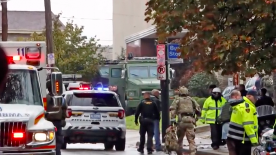 Emergency personnel on the scene after a gunman killed 11 people and injured four others at the Tree of Life*Or L'Simcha Synagogue in Pittsburgh on Oct. 27. Credit: Screenshot.