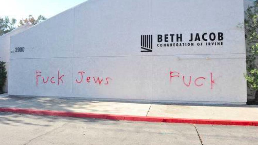 Beth Jacob Congrégation in Irvine, Calif., was vandalized on Oct. 30, 2018. Credit: Screenshot.
