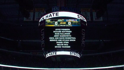 The names of the 11 people shot and killed at Tree of Life*Or L'Simcha Synagogue in Pittsburgh on Oct. 27. The names were featured on the jumbotron at PPG Paints Arena in Pittsburgh during an 11-second moment of silence before the Pittsburgh Penguins vs. New York Islanders game on Oct. 30, 2018. Credit: Screenshot.