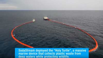 "SodaStream's ""Holy Turtle"" in action off the coast of Honduras. Source: Screenshot."