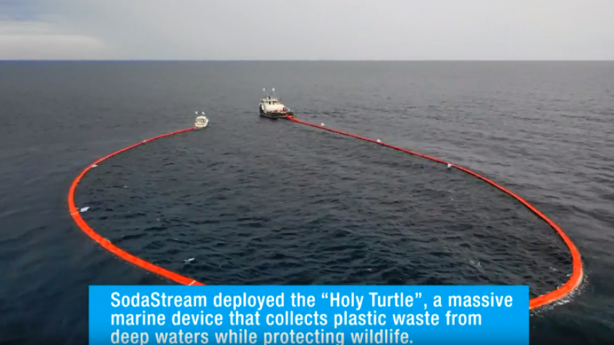 """SodaStream's """"Holy Turtle"""" in action off the coast of Honduras. Source: Screenshot."""