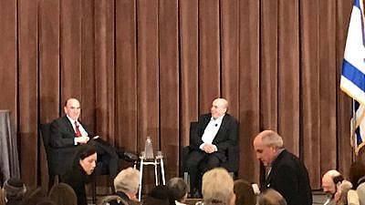 Elliott Abrams interviews Natan Sharansky at the Jewish Leadership Conference in New York on Oct. 30, 2018. Credit: Jackson Richman.
