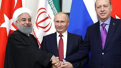 From left: Iranian President Hassan Rouhani, Russian President Vladimir Putin and Turkish President Recep Tayyip Erdoğan in Russia in 2017. Source: Kremlin.