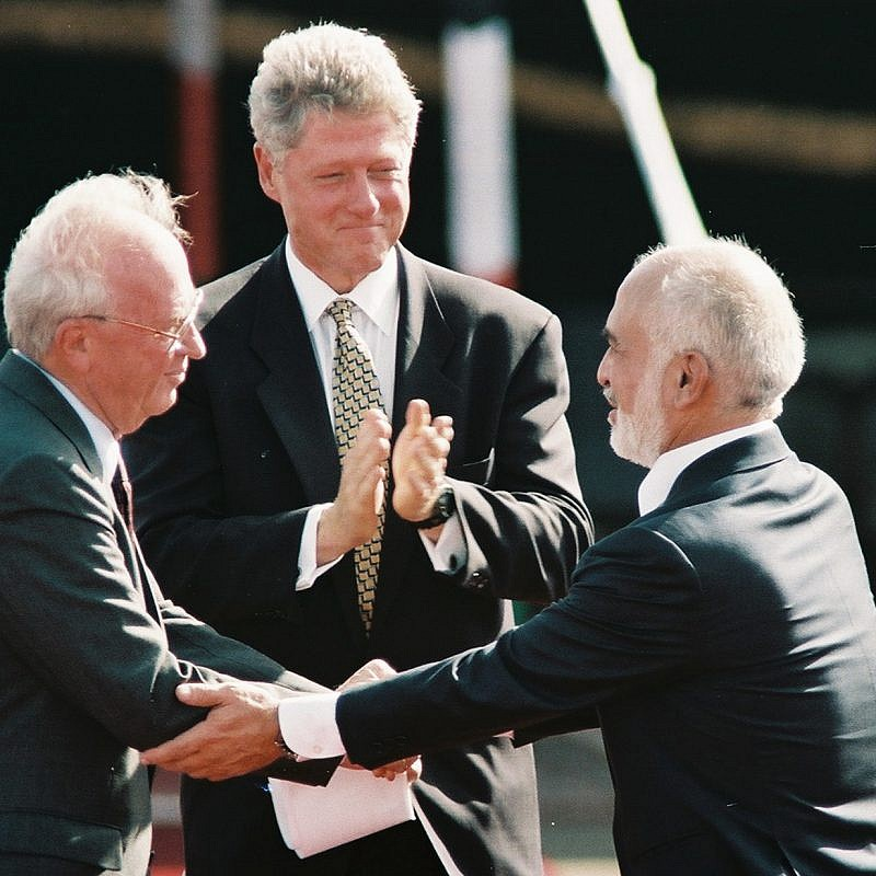 Former United States President Bill Clinton, former Israeli Prime Minister Yitzhak Rabin and former King Hussein of Jordan during the peace treaty in Aqaba, Jordan. Photo by Nati Shohat/Flash90