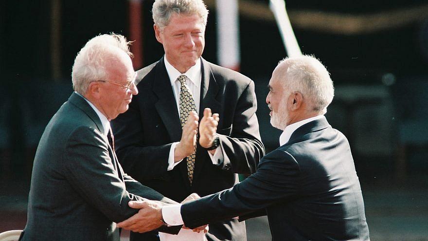 Former United States President Bill Clinton, former Israeli Prime Minister Yitzhak Rabin and former King Hussein of Jordan during the peace treaty in Aqaba, Jordan. Photo by Nati Shohat/Flash90