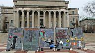 "File photo: An anti-Israel ""apartheid wall"" on display at Columbia University during Apartheid Week in 2017. Photo: Facebook."