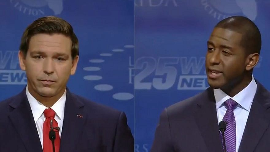 Republican Ron DeSantis squares off in a Florida gubernatorial debate with Democrat Andrew Gillum. Credit: Screenshot.