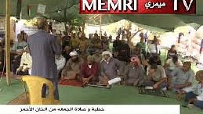 """During an Oct. 19 sermon delivered at the village of Khan al-Ahmar in the West Bank, the preacher said that the Israeli government had not learned the lessons from history, from """"the two times that the Israelites spread corruption upon the land."""" The sermon was broadcast by the Palestinian Authority's TV channel. (MEMRI)"""
