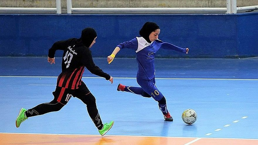 Meshki Pooshan and Esteghlal Sari compete in a match of the 15th Premier League of the Iran women's national futsal team, Jan. 17, 2018. Credit: Fars News/Wikimedia Commons.