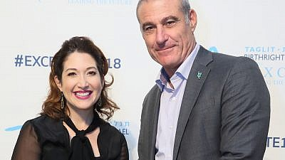 Randi Zuckerberg (left) and Birthright Israel CEO Gidi Mark at the Birthright Israel Excelerate18 Summit in New York, Nov. 3-4, 2018. Credit: Seth Litroff Photography