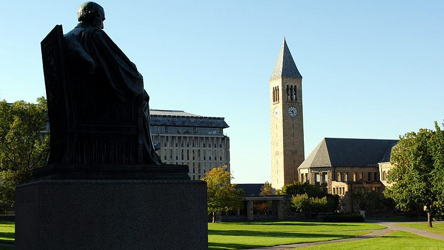 The Arts Quad at Cornell University, with McGraw Tower in background. Credit: Eustress via Wikimedia Commons.