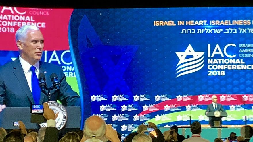U.S. Vice President Mike Pence addresses the fifth annual Israeli-American Council on Nov. 30, 2018, in Hollywood, Fla. Courtesy: Michael Lipin/Voice of America.