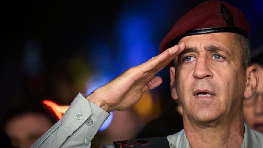 Maj. Gen. Aviv Kochavi, newly appointed deputy chief of staff, salutes during a ceremony at Hakirya base in Tel Aviv, on Nov. 3, 2016. Photo by Flash90.