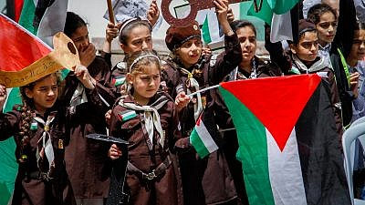 "Palestinians school kids participate in a rally marking the 70th anniversary of ""Nakba"", Arabic for catastrophe, the term used to mark the events leading to Israel's founding in 1948, at a school in the West Bank city of Nablus, on May 13, 2018. Credit: Nasser Ishtayeh/Flash90"