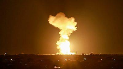 Smoke and fire rise following an Israeli airstrike in Rafah, in southern Gaza, on Nov. 12, 2018. Photo by Abed Rahim Khatib/Flash90.