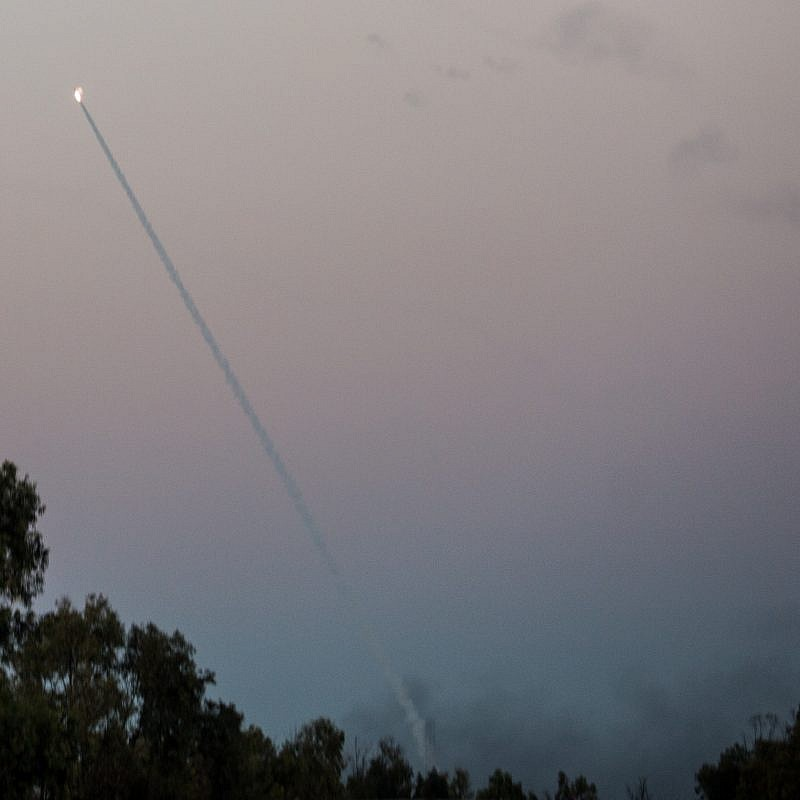Iron Dome missiles intercept rockets from Gaza, seen in the sky in southern Israel, on Nov. 12, 2018. Credit: Hadas Parush/Flash90.