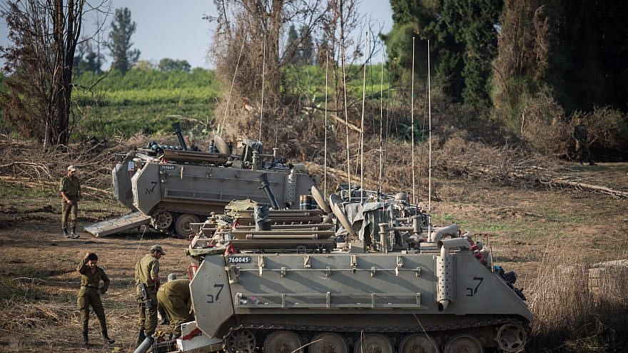 Israel Defense Forces and tanks gather near the border with Gaza in southern Israel on Nov. 13, 2018. Photo by Hadas Parush/Flash90.