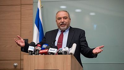 Israeli Minister of Defense Avigdor Lieberman announces his resignation from his position following the ceasefire with Hamas in Gaza during a press conference in the Israeli parliament, Nov. 14, 2018. Photo by Yonatan Sindel/Flash90.