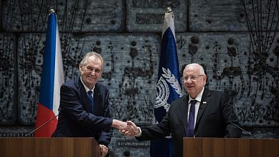 President of the Czech Republic Miloš Zeman  Israeli President Reuven Rivlin hold a joint press conference at the president's residence in Jerusalem on Nov. 26, 2018. Photo by Hadas Parush/Flash90.
