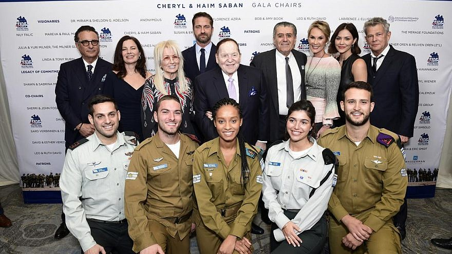 Haim and Cheryl Saban, and Dr. Miriam and Sheldon Adelson with a star-studded group at the Friends of the Israel Defense Forces (FIDF) Western Region Gala at the Beverly Hilton Hotel on Nov. 1, 2018. Photo by Shahar Azran.