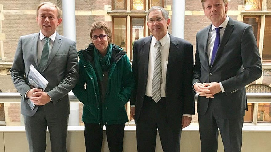 From left: Dutch Parliament members Kees van der Staaij, Kay Wilson and Joël Voordewind, with Itamar Marcus (third from left), director of the Palestinian Media Watch. Credit: PMW.