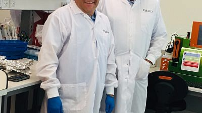 Dr. Shai Yarkoni (left) and Nuriel Chirich Kasbian in their lab at Cellect Biotechnology. Credit: Maayan Jaffe-Hoffman.
