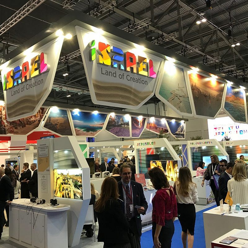 Israel's booth at the World Travel Market tourism fair in London. Credit: Israel Kasnett.
