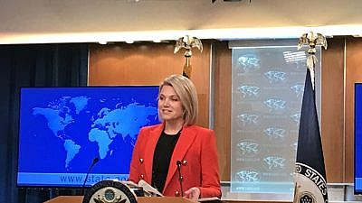U.S. State Department spokesperson Heather Nauert delivers a press briefing at the department in Washington, D.C., on Nov. 15, 2018. Credit: Jackson Richman/JNS.