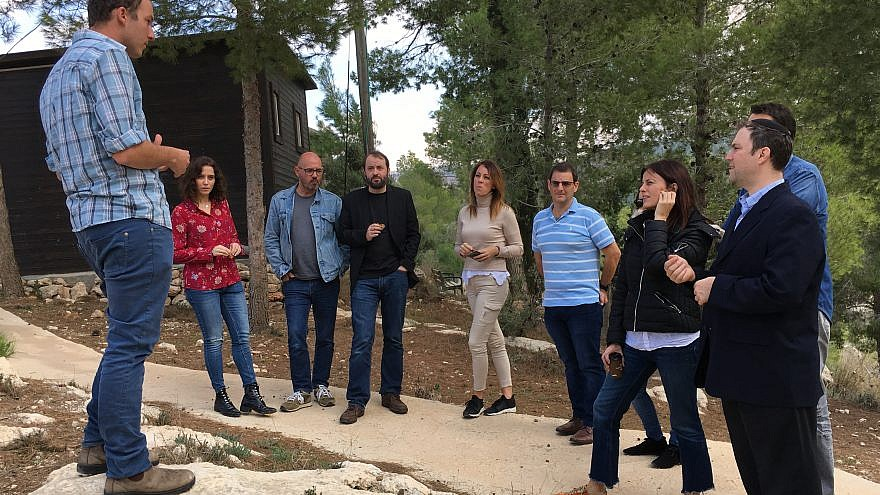 A group of Spanish politicians on a visit, sponsored by the Ministry of Strategic Affairs and Jordan Valley Regional Council, to businesses, farms, factories and educational institutions throughout Judea and Samaria. Credit: Josh Hasten.