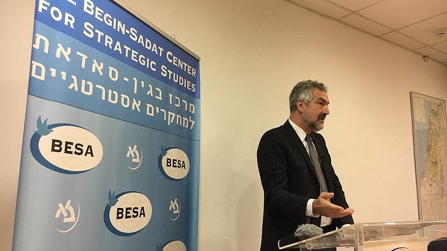 Daniel Pipes delivering his remarks at the Begin-Sadat Center for Strategic Studies on Nov. 27, 2018. Credit: Josh Hasten.