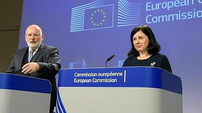 """European Union First Vice President Frans Timmermans and Commissioner Vera Jourova on the occasion of the 80th anniversary of the """"Kristallnach."""" Credit: EJP."""