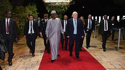 Chadian President Idris Déby walks with Israeli President Reuven Rivlin during Déby's historic visit to the Jewish state on Nov. 25, 2018. Credit: Haim Zach/GPO.