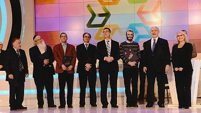 Rabbi Ezra Frazer (third from left) with the rest of the 2012 winners and Israeli Prime Ministert Benjamin Netanyahu. Courtesy.