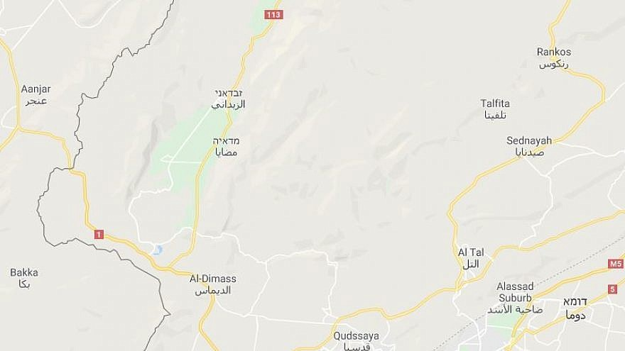 """The area in Syria controlled by Hezbollah, according to a Sept. 25 article in the Lebanese daily""""Al-Modon."""" Credit: Google Maps"""