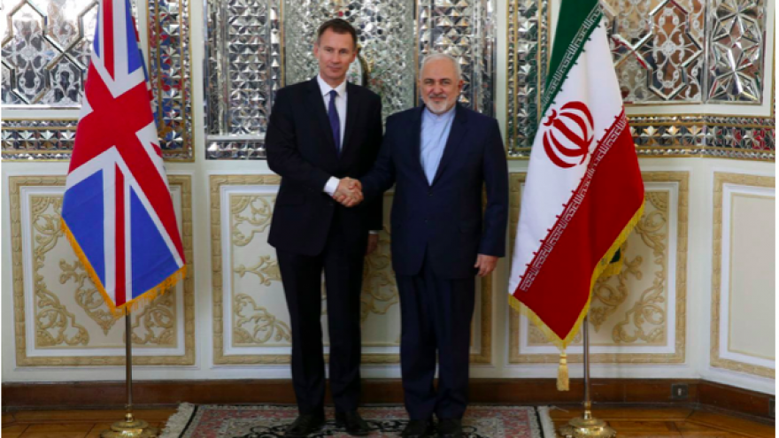 British Foreign Secretary Jeremy Hunt (left) with Iranian Foreign Minister Mohammad Javad Zarif in Tehran on Nov. 19, 2018. Credit: Screenshot.