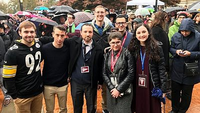 Rabbi Dr. Ari Sytner (center) with community members in Pittsburgh, there to provide comfort after 11 Jewish worshippers were shot and killed by a gunman the Tree of Life*Or L'Simcha Synagogue on Oct. 27, 2018. Credit: Courtesy.