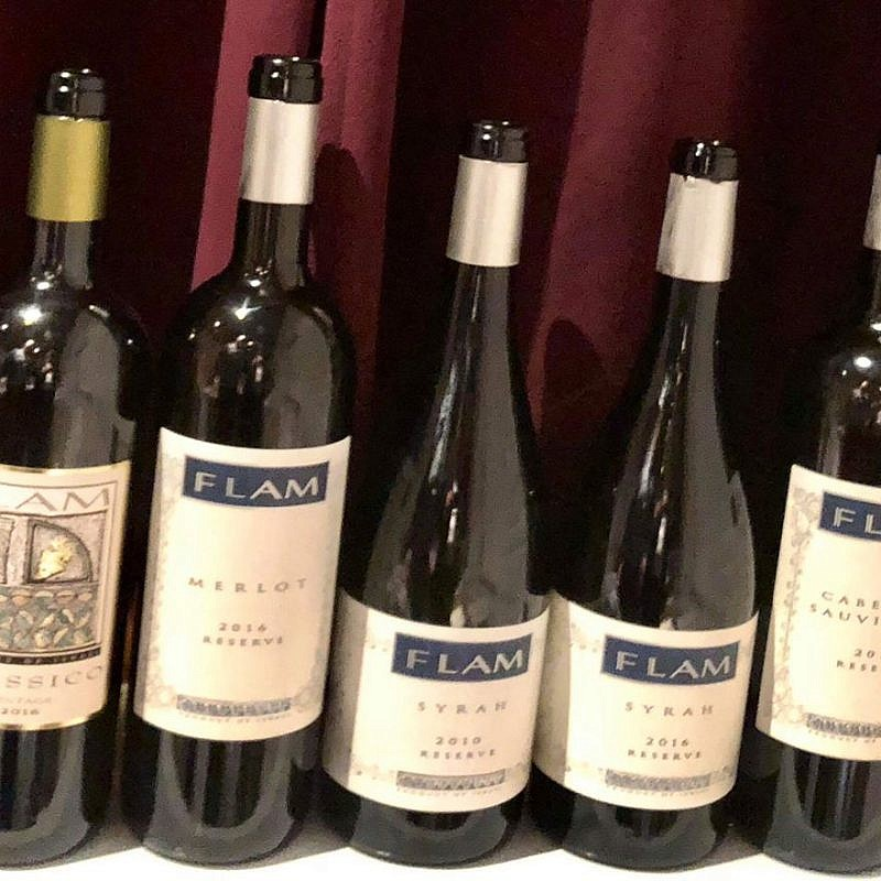 The wines served at the dinner at Noi Due Carne kosher restaurant in New York City. Credit: Yossie Horwitz.