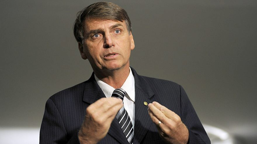 Brazil's President-elect Jair Bolsonaro, a right-wing anti-establishment figure who has promised to upend the status quo in the country, including improving ties with Israel. Credit: Wikimedia Commons.