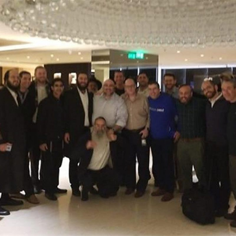 Some of the 150 El Al passengers who unexpectedly spent a Shabbat together in Athens, Nov. 16, 2018. Credit: Chabad.org/News.