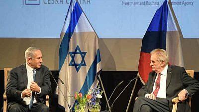Israeli Prime Minister Benjamin Netanyahu with Czech President Miloš Zeman at the opening of Czech House in Jerusalem. Credit: Amos Ben Gershom/GPO.