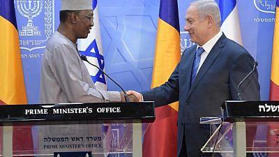 Israeli Prime Minister Benjamin Netanyahu with Chadian President Idriss Déby on Nov. 25, 2018. Credit: Amos Ben-Gershom/GPO.