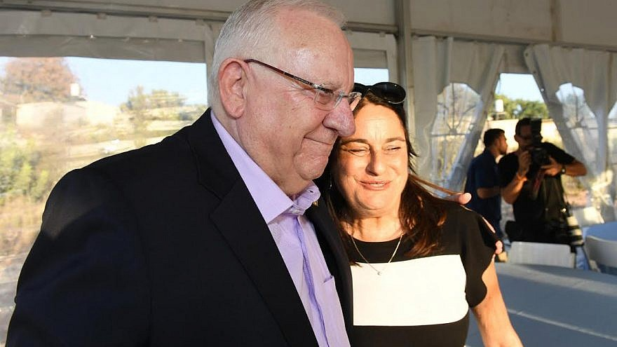 "Israeli President Reuven Rivlin with Rona Ramon, the wife of the late Ilan Ramon, who died in the 2003 ""Columbia"" space shuttle explosion. She died in December 2018 after a long battle with cancer. Credit: Haim Zach/GPO."